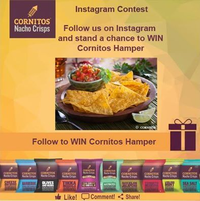 ‪#‎ContestAlert‬ ‪#‎InstagramContest‬ Follow us on Instagram and stand a chance to WIN CORNITOS! hamper.  Link: https://instagram.com/cornitos/