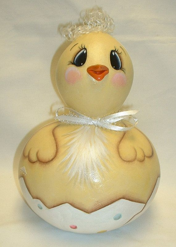 Easter Baby Chicken  Gourd  Hand Painted by FromGramsHouse on Etsy,