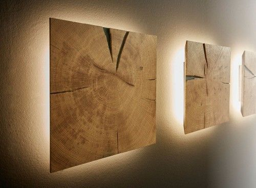 Dryad Interior Collection wall element with lighting end grain solid oak – M
