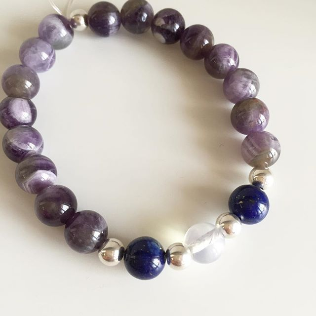 ♍️ Virgo bracelet: Amerhyst, Lapis Lazuli, Moonstone, Silver Price EUR 20 (plus EUR 4 for international registered shipping, and EUR 4 for optional gift package). For your personal bracelet, contact me on e-mail in bio.  #bracelet #bracelets #semipreciousstones #virgo #zodiac #sign #amethyst #moonstone #lapislazuli #silver #armcandy #armparty #jewellery #jewelry #jewellerymaking #jewellerybrand #jewellerydesign #czechbrand #ombljewellery #dowhatyoulove