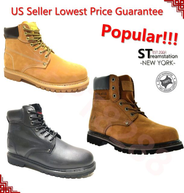 Men's Winter Snow Boots Work Boots Water Resistant Leather 8036   FREE SOCKS