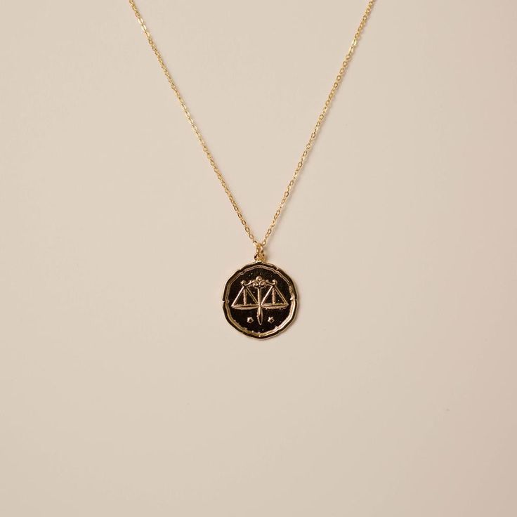 Libra scale initial hand stamped antique gold personalized Scales of Justice Necklace initial necklace monogram