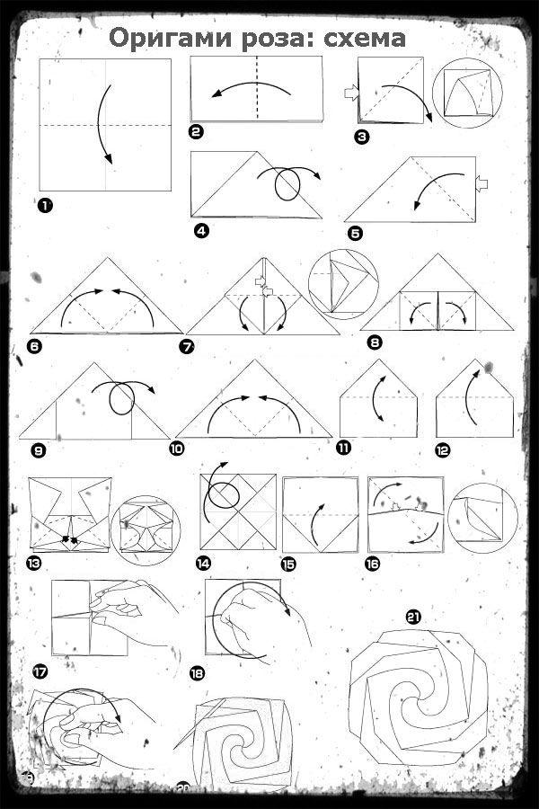 оригами роза схема сборки