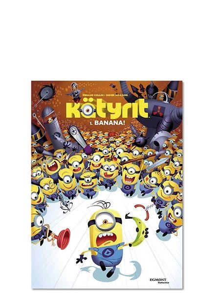 Minions - Kätyrit: 1. BANANA! - sarjakuvakirjassa keltaisten vipeltäjien arki on vaaroja täynnä, mutta niin on vapaa-aikakin. Luvassa on siis vauhtia, räjähdyksiä ja isompia räjähdyksiä, kun Itse ilkimys -elokuvista tutut hulvattomat kätyrit viilettävät kiperästä tilanteesta toiseen.