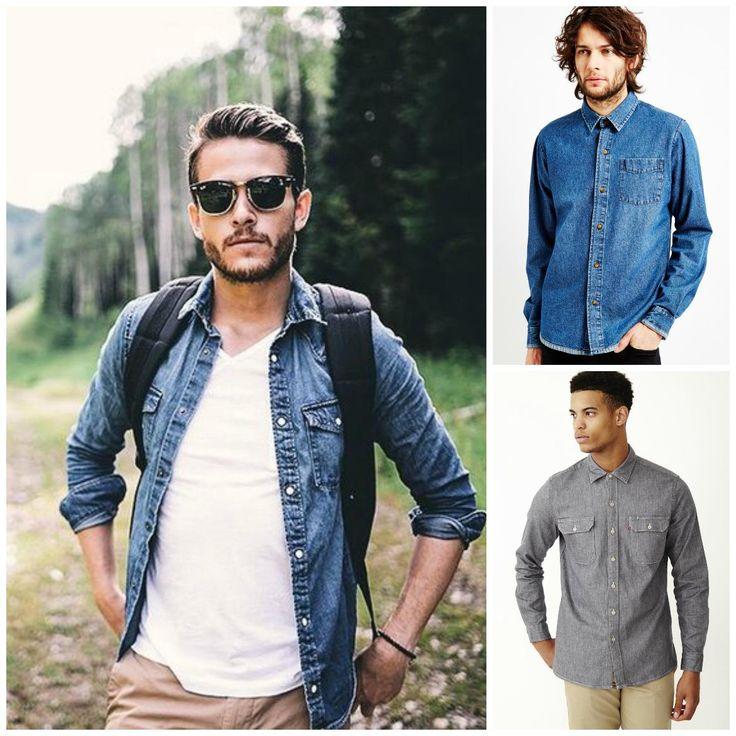 mens-denim-shirt-outfit-grid.jpg (1170×1170)