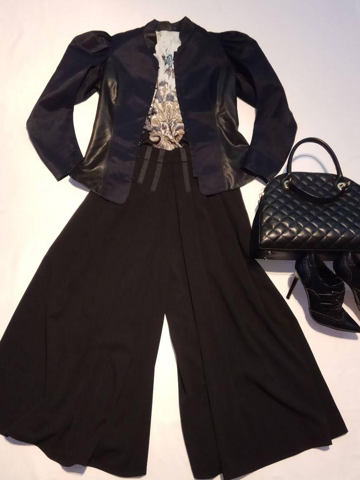 Satin & eco leather blazer di NataTulip su Etsy