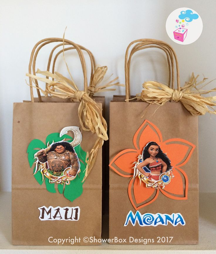 Moana Birthday Favor bags ShowerBox Events Like us on FB #moanabirthday #myshowerbox