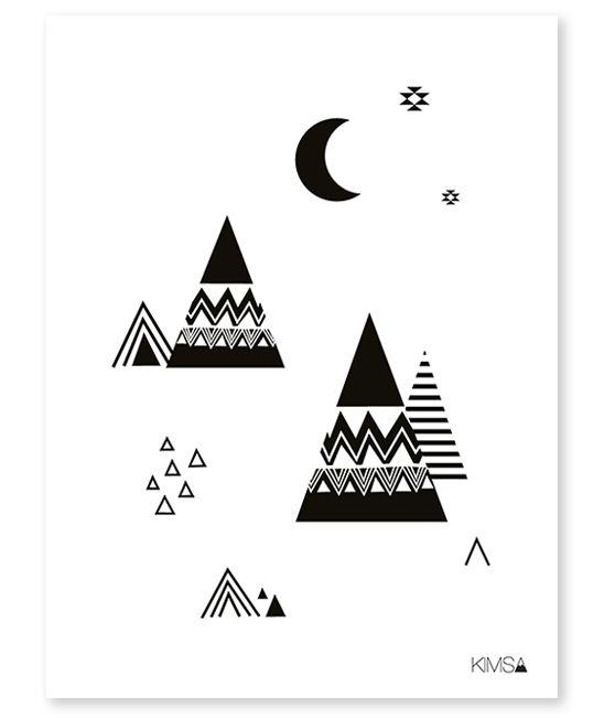 Poster enfant origami montagnes