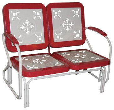 4D Concepts Metal Retro Glider in Red Coral & White Metal eclectic patio furniture and outdoor furniture