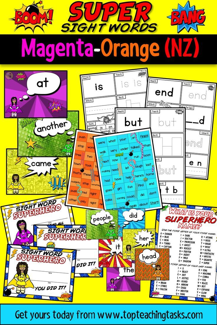"This New Zealand Sight Word Super Sight Words Bundle features activity sheets, PowerPoint slides and fluency cards for the Magenta, Red, Yellow, Blue, Green and Orange levels of the New Zealand Sight Word colour wheel. It also features celebratory certificates and a bonus ""What's Your Superhero Name?"" classroom activity!"