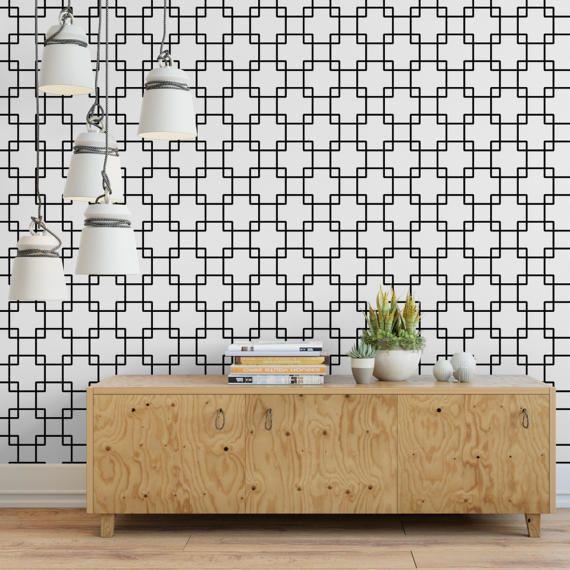 Interlock Squares Removable Wallpaper G144 27 Etsy Removable Wallpaper Wall Design Wallpaper