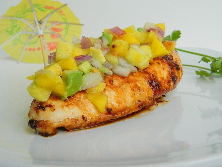 Spicy Pineapple Chicken with Mango Avocado Salsa