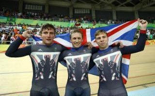 Live:  Callum Skinner, Jason Kenny and Philip Hindes of Great Britain celebrate after winning gold