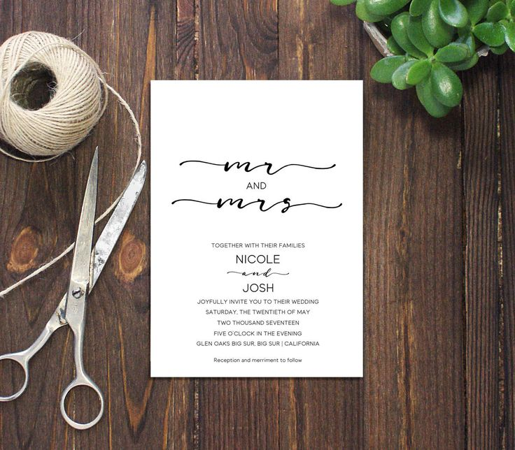 INSTANT DOWNLOAD PDF Template 5x7 Mr and Mrs Invitation Wedding Invitation Elegant calligraphic Wedding Invites Wedding Printable Digital by DreamPrintable on Etsy