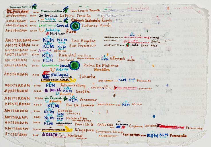 Lionel Plak is gefascineerd door logo's, landkaarten en schematische weergaven van bus- metro- en treinverbindingen. In kleurrijke lijsten benoemt hij graag alle haltes en stations van een route.