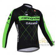 maillot Cyclisme Cannondale 2015 Manche longue noir et vert