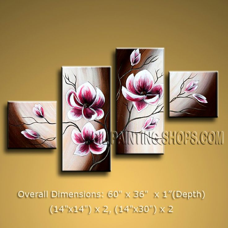 Large Contemporary Wall Art Floral Painting Tulip Flower On Canvas. In Stock $128 from OilPaintingShops.com @Bo Yi Gallery/ ops2485