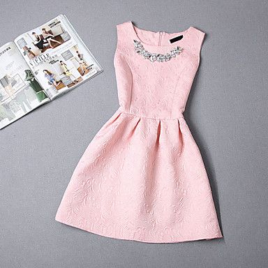 Women's Vintage Beaded Collar Sleeveless Jacquard Skater Plus Size Dress – USD $ 9.99