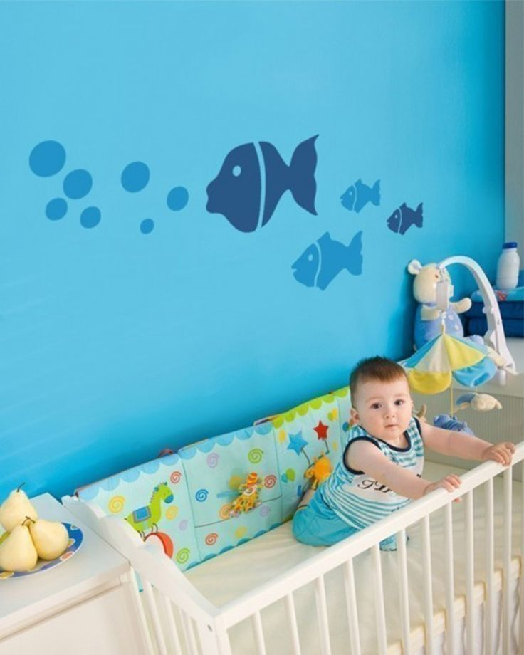 bedroom swimming fish blue painted wall baby room painting ideas creative wall…