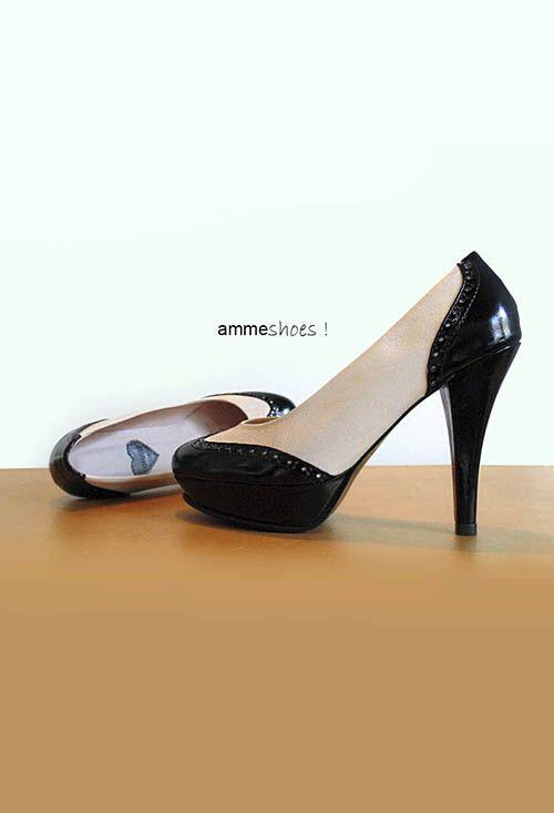 Zapatos Dark Cream 100% cuero crema y negro #shoes #moda #accesorios
