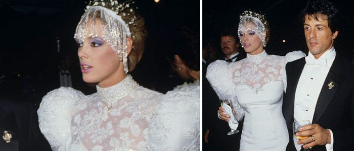 Brigitte Nielsendesigned her own dress and donned aCleopatra-chic headband for her 1985 wedding to Sylvester Stallone.