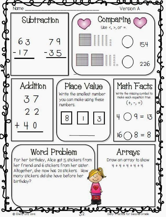 Second Grade morning work that helps students master essential 2nd Grade Common Core English Language Arts and Math skills --click on preview for FREE sample pages