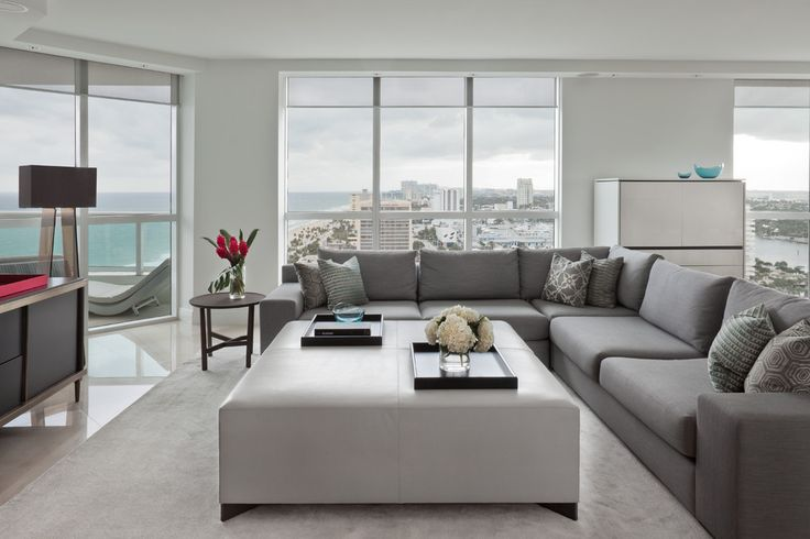 patio sectional Living Room Contemporary with area rug Florida gray grey high glass floor jiun ho large windows
