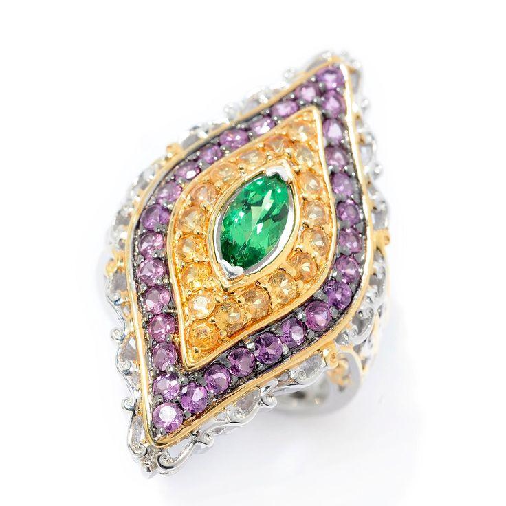 159-403 - Gems en Vogue 2.52ctw Tsavorite, Spessartite & Purple Garnet Elongated Ring