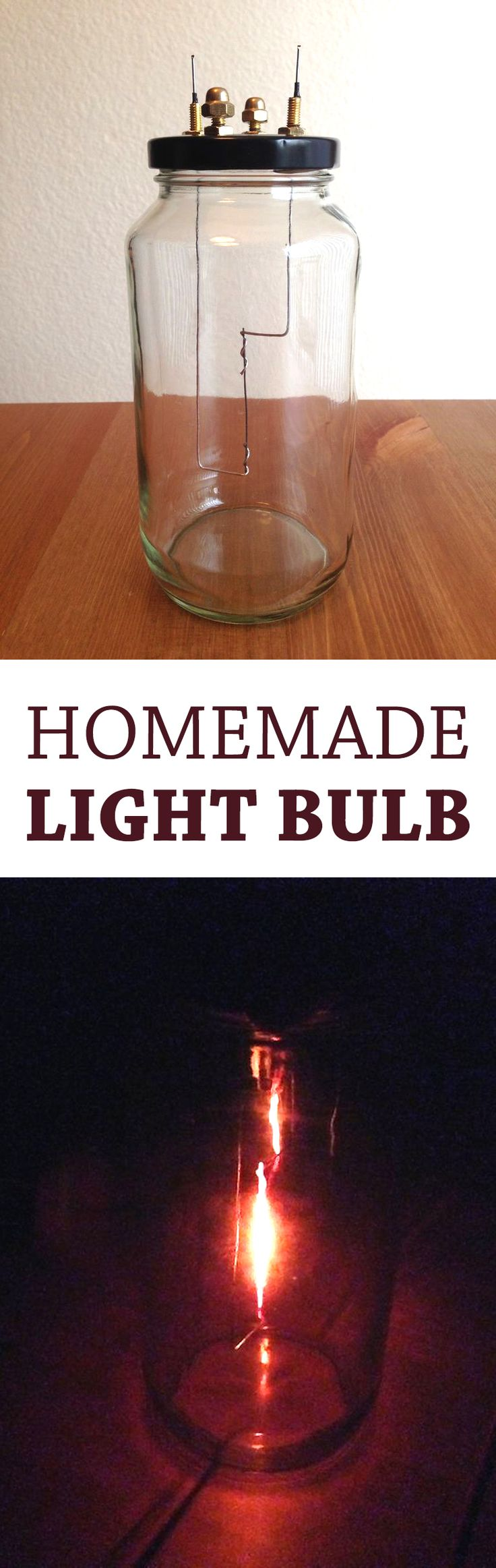 This lightbulb is made entirely out of simple, mostly household materials requiring very little in special equipment.