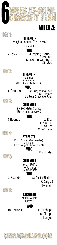 Week 4 -  6 Week Crossfit Workout Plan