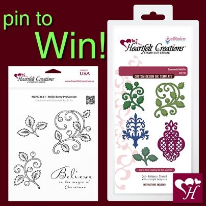 Repin to Win. A stamp set and matching die giveaway... 2 winners will be random selected. Contest closes Oct.27th, 2013 at 11:59 PM. Winners will be announced in a Pin on Oct. 28, 2013. Good Luck!