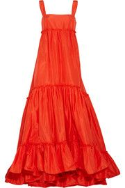 Would wake up a room like a glass of OJ on a hot morning- Oscar de la Renta for THE OUTNET Silk-taffeta trapeze gown