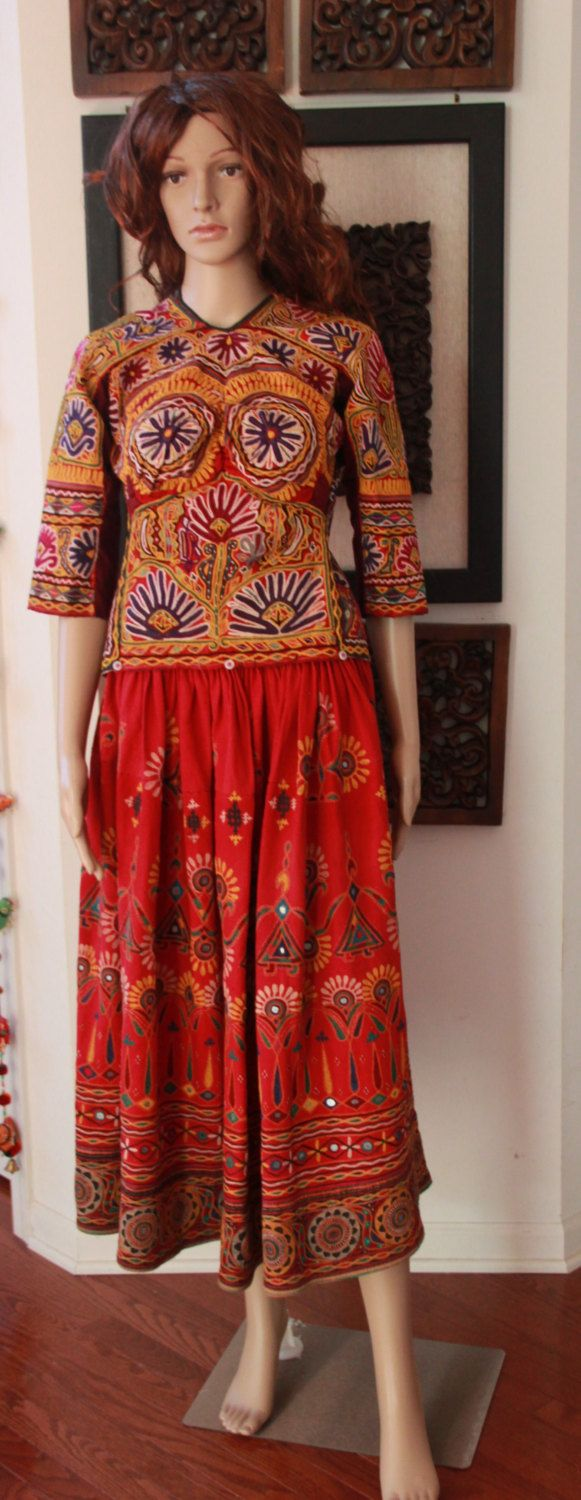 Beautiful  Vintage style Rabari Ghagra Choli with Kutchi hand embroidery accentuated with mirror work in Red colour by EleganceByRajul on Etsy