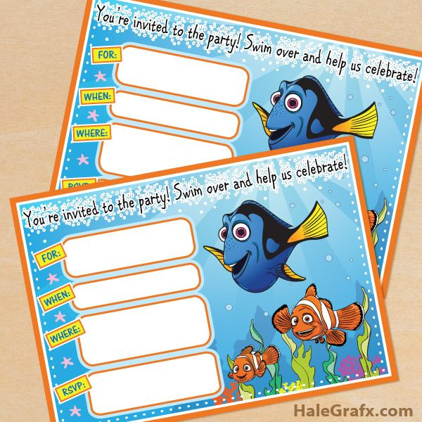 Click here to download FREE Printable Finding Nemo Birthday Invitations!