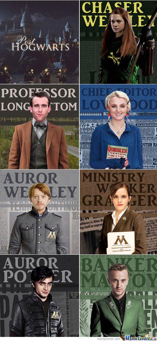 Ginny, Neville, Luna, Ron, Hermione, Harry, Draco