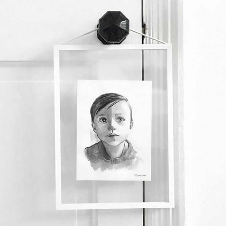 Minimalist monochrome Child Portrait in black ink SMALL