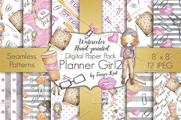 Planner Girl Digital Papers Pack by Tanya Kart on @creativemarket
