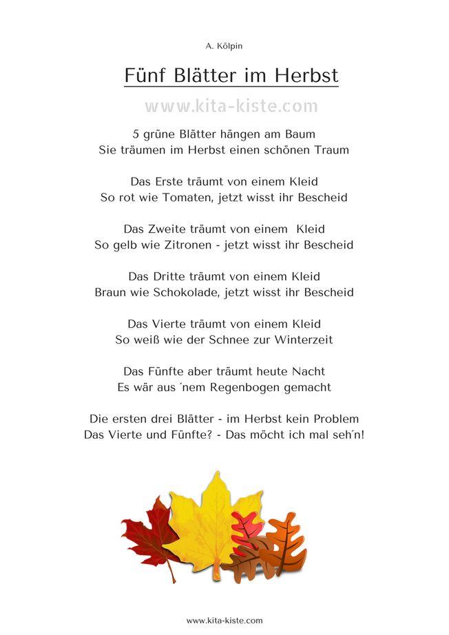 "Fingerspiel Herbst ""Fünf Blätter im  Herbst"" Kita-Kiste"
