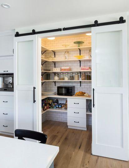 barn doors pantry kitchen   Sliding barn doors for max pantry space.