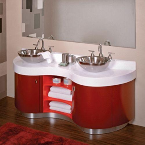 DecoLav Artemisa 61 Bathroom Double Vanity In Red With Sinks Part 34