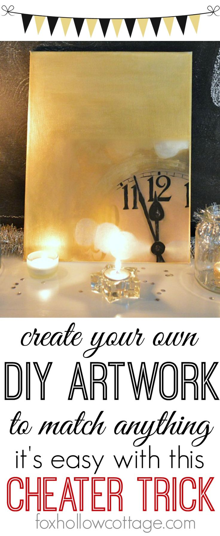 Diy Art: cheap and easy art - made to match #diyhomedecor #diyart #newyearseve