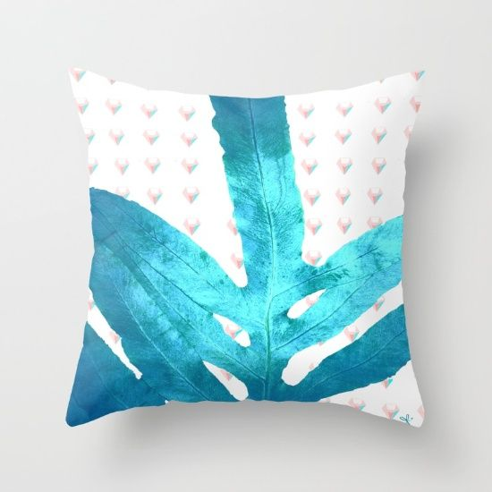 Pantone Rose Quartz Pink Fern Inverted Ice Blue Diamond Throw Pillow Pink, Products and Ferns