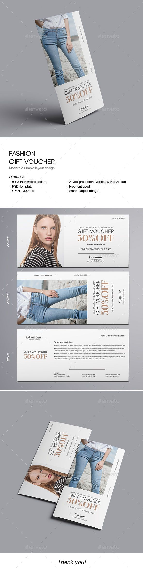 Fashion Gift Voucher — Photoshop PSD #Loyalty Cards #voucher beauty • Download ➝ https://graphicriver.net/item/fashion-gift-voucher/18790097?ref=pxcr