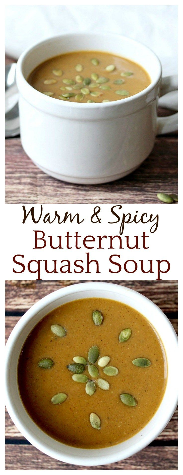 This pureed Warm & Spicy Butternut Squash Soup is the perfect Fall soup recipe, but it's perfect for all through Winter too! It's easy to make and kids even love the delicious, warm cinnamon and spice flavors!
