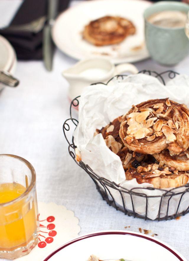 apple cinnamon and almond swirls with honey glaze