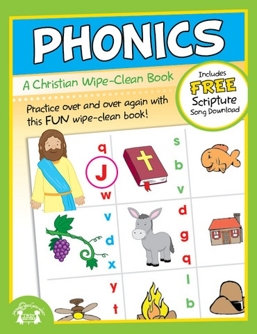 Phonics: A Christian Wipe Clean Workbook    Kids of all ages will enjoy the sturdy wipe-clean books to practice basic skills, play games while traveling, and learn important Biblical principles.  Each book comes with a FREE song download which compliments the theme of the book! Learning important pre-reading skills has never been more fun!    $4.99