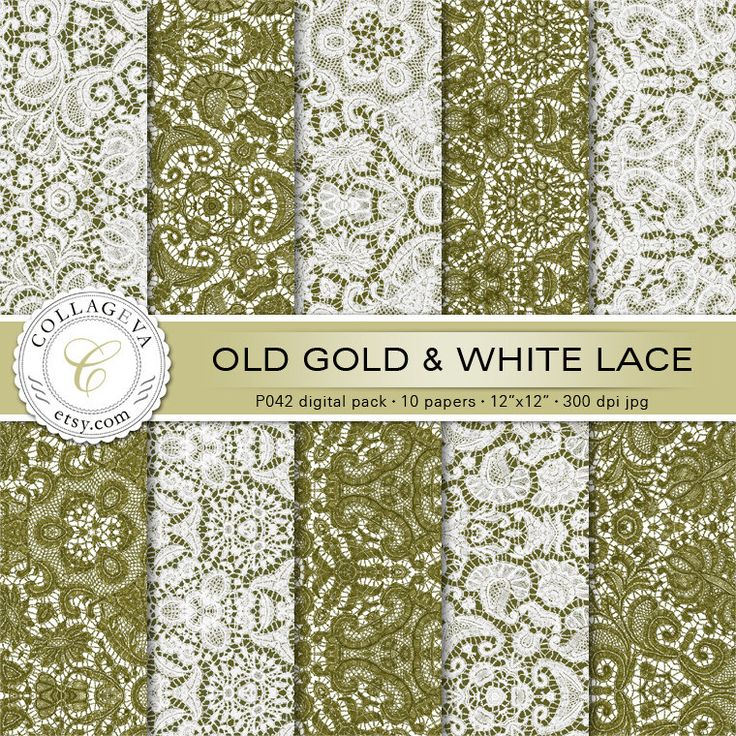 """Old Gold & White Lace Digital Pack 10 Printable Sheets 12x12"""" Scrapbook Papers, Romantic Crochet Shabby Chic Elegant Wedding Wall art (P042) by collageva on Etsy"""