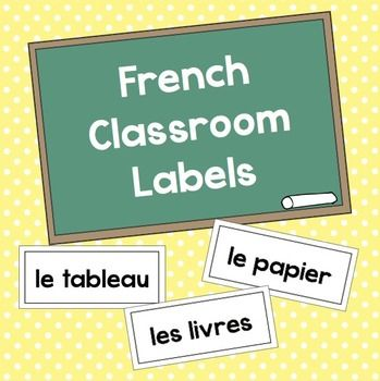 Free Black and White French Classroom Labels.