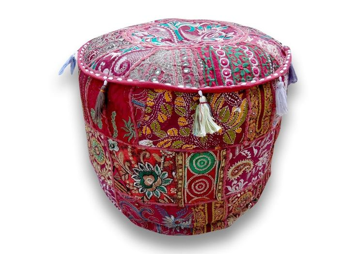 Pouf Ottoman Indian Ethnic Decor Patch Pouffe Round Floor Pillow Stool Cover   #Handmade #Traditional #OttomanCoverPoufCoverFootstoolCover