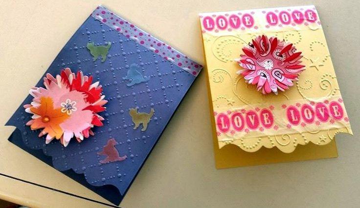 Birthday Card: big shot, embossing folders, washi tape e envelope punch board ;)